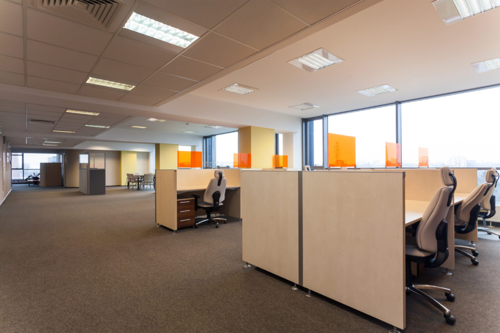 a modern office with cubicles