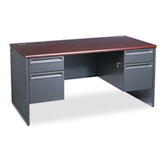 Charcoal Double Pedestal Desk