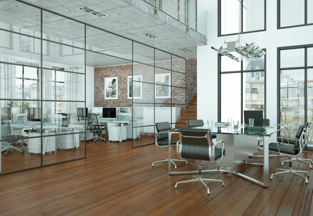 beautifully modern office space with glass partitions