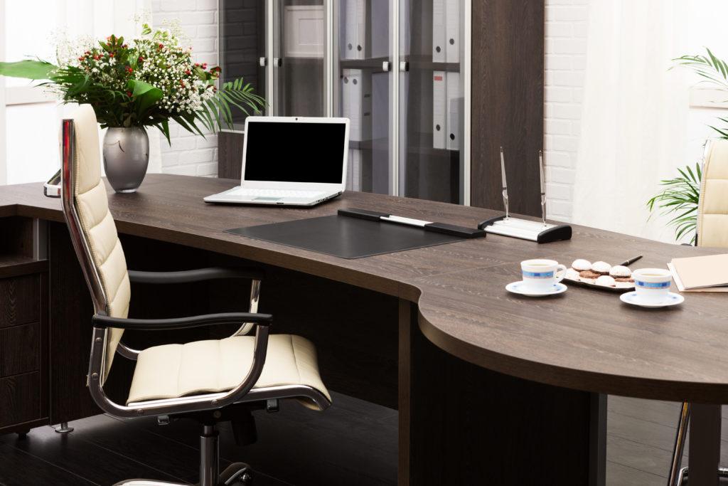 beautiful black walnut office desk with modern looking chair