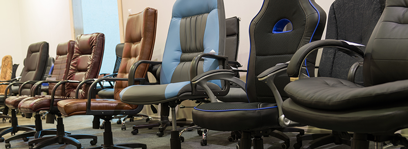 reupholstered office chairs in office
