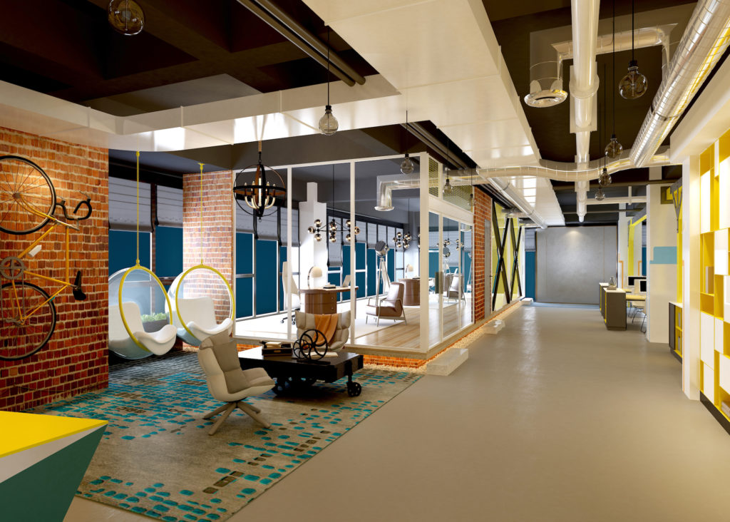 modern working office with efficient colorful walls and carpeting to enhance productivity