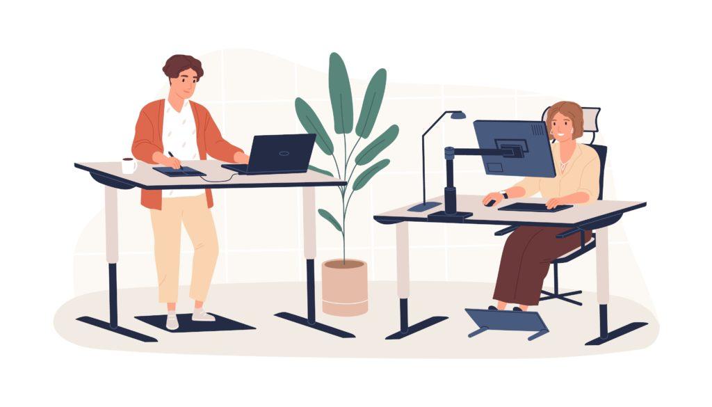 Illustration of people using ergonomic office furniture at work